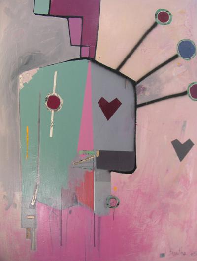 Pop rock / acrylique et collage et sur toile / 130x160cm / 2005Olivier Barthe