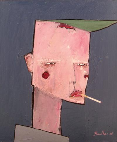 Rose / acrylique et collage et sur toile / 50x60cm / 2006Olivier Barthe