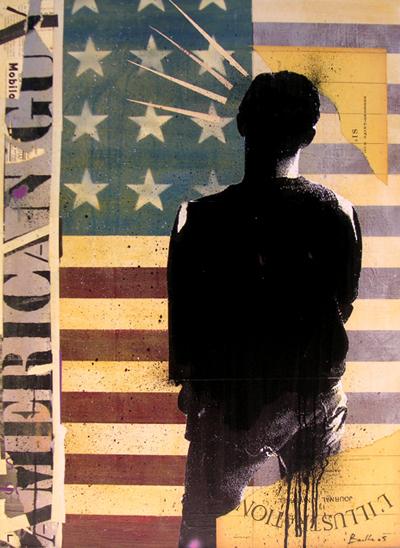 American guy / acrylique et collage et sur toile / 65x110cm / 2005Olivier Barthe