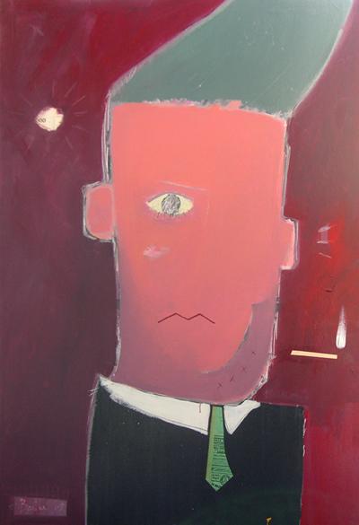 Le fumeur / acrylique et collage et sur toile / 80x115cm / 2005Olivier Barthe