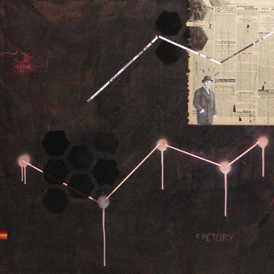 Atome / acrylique et collage sur toile / 80x80cm / 2005Olivier Barthe