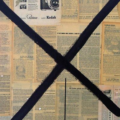Telegram / acrylique et collage sur toile / 97x130cm / 2003Olivier Barthe