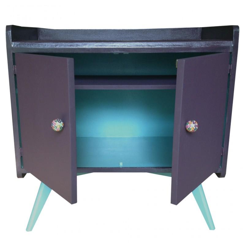 Ancien secrétaire revisité en petit buffet deux portes, typique années 50 Couleurs prune et bleu lagon. Vendu