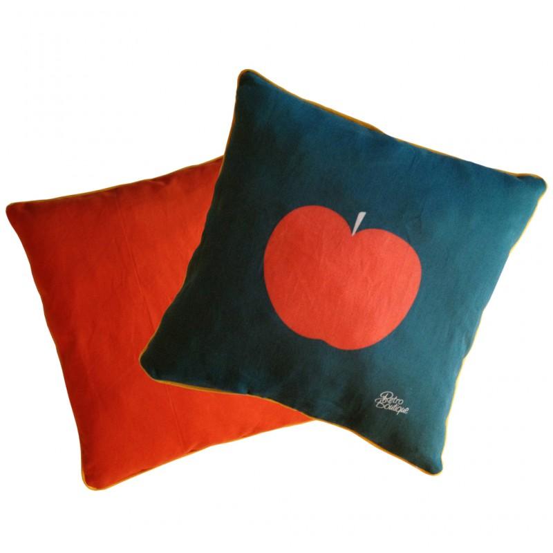 Illustration pomme Couleurs orange/bleu canard Passe-poil jaune