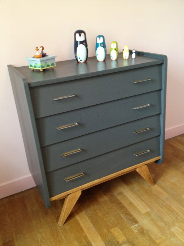 Commode grise anthracite, années 50