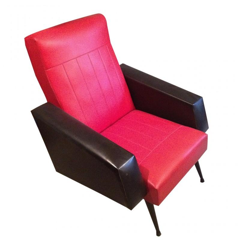 Fauteuil ann e 60 ska r tro boutique - Fauteuil rouge et noir ...