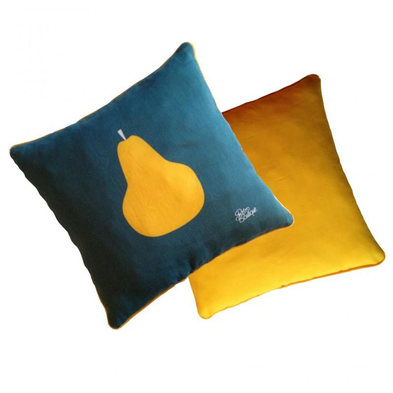 Coussins illustration pomme poire r tro boutique - Coussin jaune et bleu ...